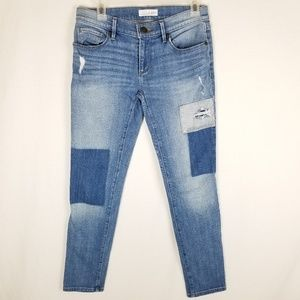 LOFT Patch Work Distressed Relaxed Skinny Jeans